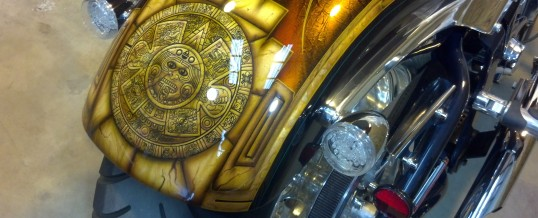 Aztec calendar on a harley, WHAT? Cool!